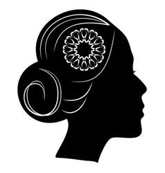 beautiful profile silhouette of lady with a bun vector image