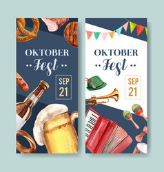 Beer food and musical instruments flyer vector