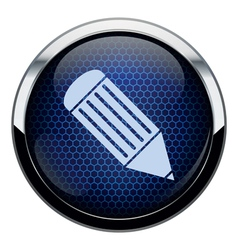 Blue honeycomb pencil icon vector image