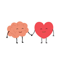 brain and heart handshake concept vector image