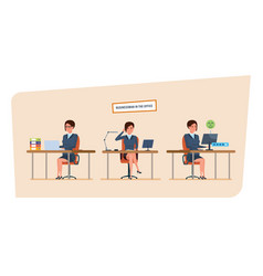 Businesswoman in office work situations working vector