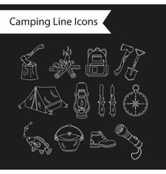 Camping holiday line icons vector image