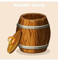 cartoon open wooden barrel game elements vector image vector image