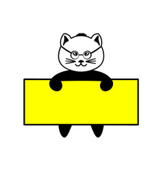 cat with the glasses on the board vector image