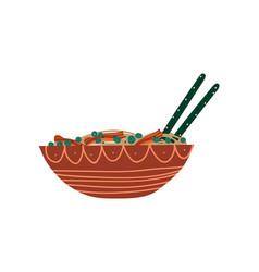ceramic bowl noodles soup with chopsticks vector image