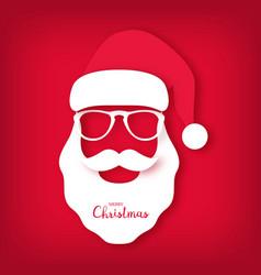 christmas card santa claus wearing glasses vector image