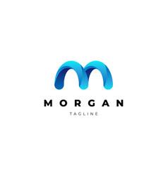 Clean blue letter mark m logo design template vector