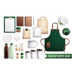 Coffee shop elements mockup vector