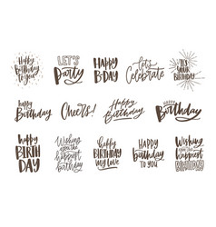 Collection of handwritten birthday wishes isolated vector