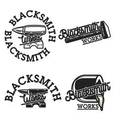 color vintage blacksmith emblems vector image