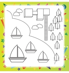 Coloring book with ships vector image
