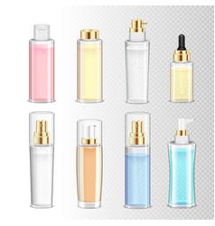 cosmetics bottles realistic set vector image