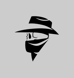 Cowboy outlaw skull head symbol on gray backdrop vector