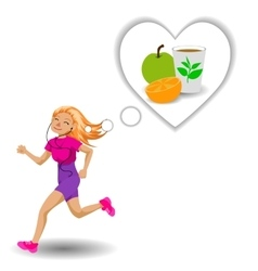 Cute running girl vector image