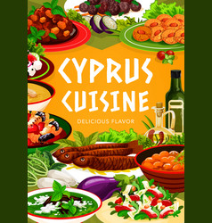 cyprus cuisine greek food dishes poster vector image