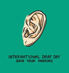 deaf day green concept background hand drawn vector image
