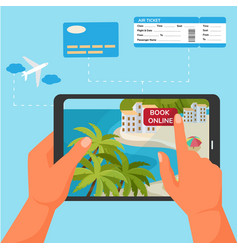 device application for booking ticket and hotel vector image