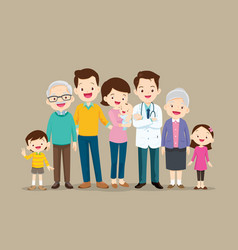 Doctor and big happy family set vector