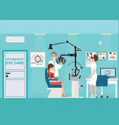 Doctor and patient at ophthalmologist interior vector