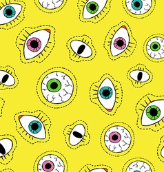Eye drawing stitch patch icon seamless pattern vector