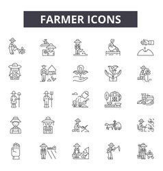 farmer line icons for web and mobile design vector image