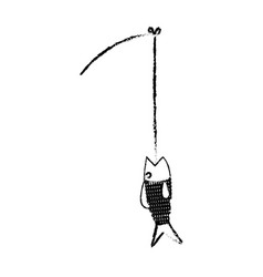 fishing rod and fish fresh food image vector image