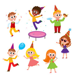 Flat cartoon kids at party set vector