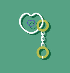 Flat icon design sex handcuffs and heart vector