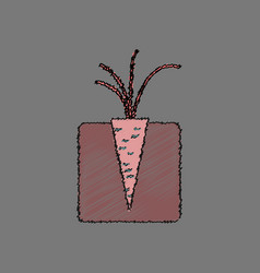 Flat shading style icon turnips in the ground vector