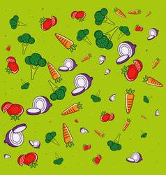 fresh vegetables healthy salad pattern vector image