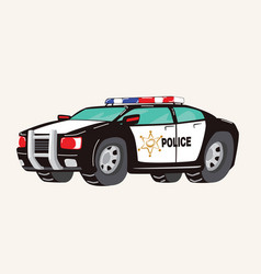 funny cute hand drawn cartoon police car toy vector image