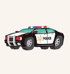Funny cute hand drawn cartoon police car toy vector