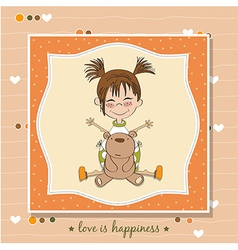 Funny girl with hearts Doodle cartoon character vector image