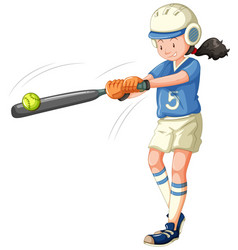 Girl about to hit baseball isolated vector