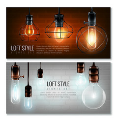 Glowing light bulbs horizontal banner set vector
