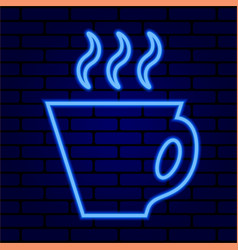glowing neon coffee cup on a brick wall background vector image