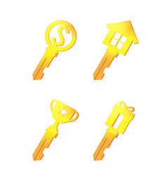 gold key icon business symbol vector image