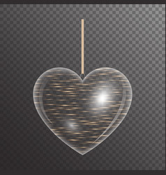 Golden heart with sparkles vector