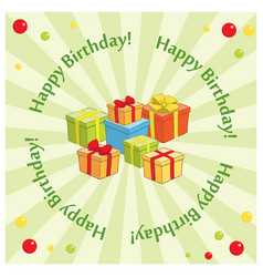 Green greeting background with gifts for birthday vector