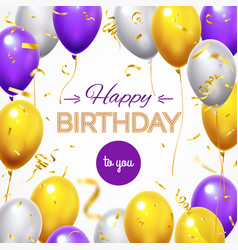 greeting card with balloons happy birthday vector image