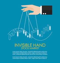 hand is controlling stock candle stick graph vector image