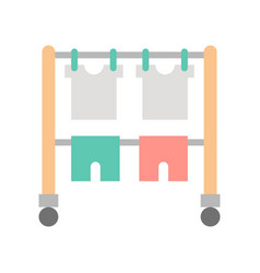 Hang dry clothes on clothes horse cleaning and vector