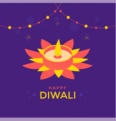 happy diwali festival greeting card with candle vector image