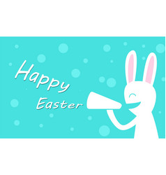 happy easter day with rabbit hold megaphone vector image