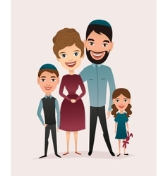 Happy jewish family couple with children vector image