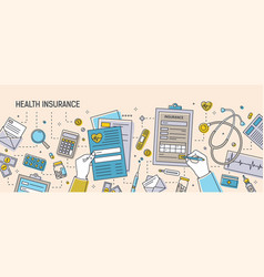 horizontal banner with hands filling out health vector image