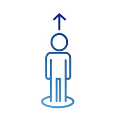 Human figure avatar with arrow up gradient style vector
