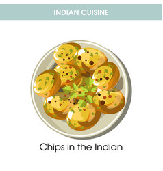 Indian cuisine potato chips traditional dish food vector