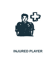 Injured player icon mobile apps printing and vector
