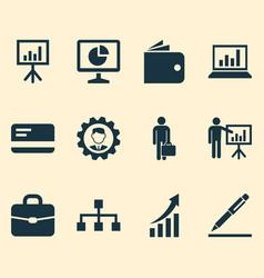 Job icons set collection of billfold statistics vector